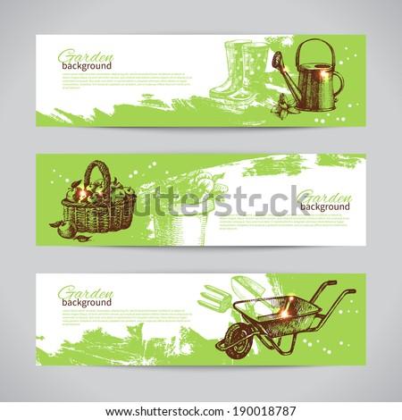 Set of sketch gardening banner templates. Hand drawn vintage illustrations - stock vector