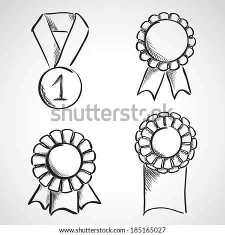 Set of sketch prize ribbons. Hand drawn illustration - stock vector