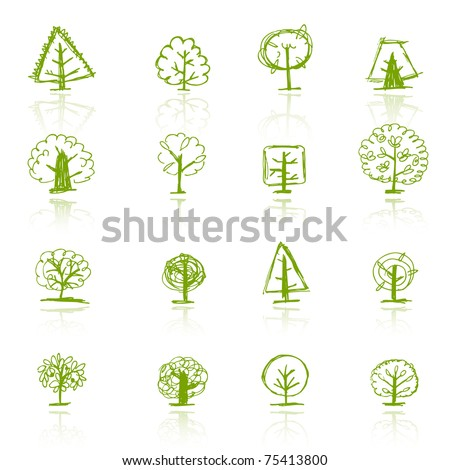 Set of sketch trees for your design - stock vector