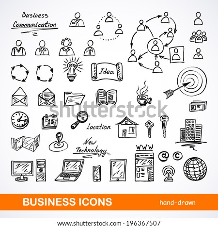 Set of sketched business icons on a white background - stock vector