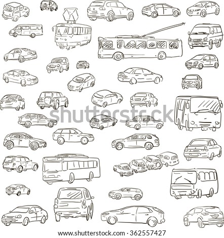 set of sketched cars, hand drawn transport - stock vector