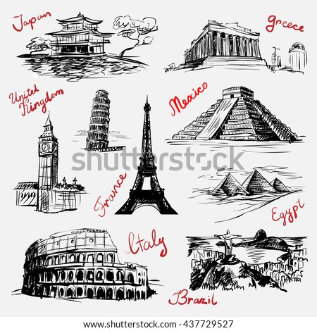 Set of sketchy style drawn isolated illustrations of world famous landmarks (vector) - stock vector