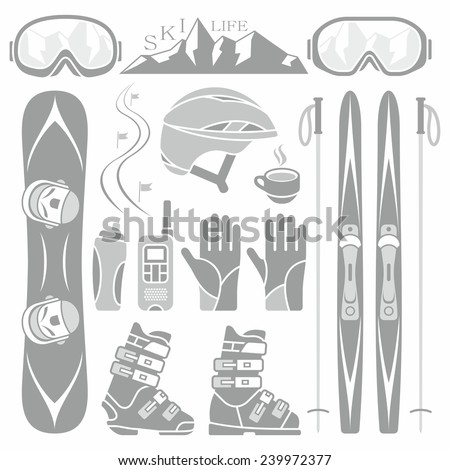 Set of skiing and snowboarding - stock vector