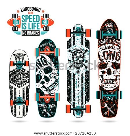 Set of skull prints on longboard in retro style.  - stock vector