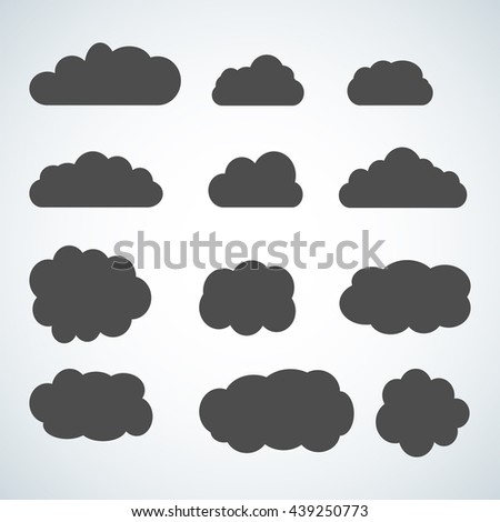 Set of sky, clouds. Collection of cloud icon, shape, label, symbol. Graphic element vector. Vector design element for logo, web and print. - stock vector