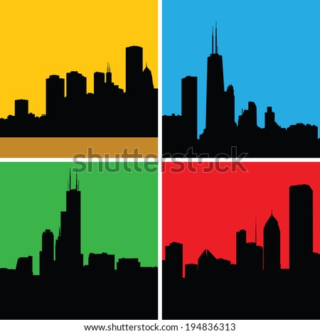 Set of skyline silhouettes of the city of Chicago, Illinois, USA. - stock vector