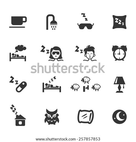 Set of sleep icons on white. Shower and cup, pillow, lamp, dream and owl, night light and snoring. Vector illustration - stock vector