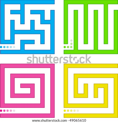 Set of small colored mazes. - stock vector