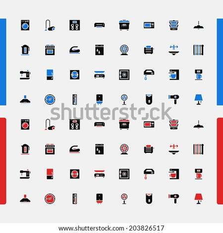 Set of small icons. Household appliances. Consumer Electronics. Kitchen, bathroom, machine, cooking. Vector. - stock vector