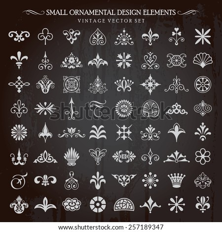 Set of small ornamental design elements vintage floral swirls vignettes and page decoration vector  - stock vector