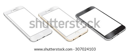Set of Smartphones with blank screen lying on flat surface in three colors white, gold and black, isolated on white background - high detailed realistic eps 10 vector illustration - stock vector