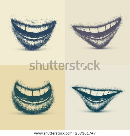 Set of smiles in grunge style, eps 10 - stock vector