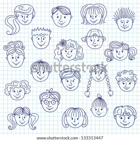 Set of smiley children faces. Doodle style illustration on a squared paper. Vector. - stock vector