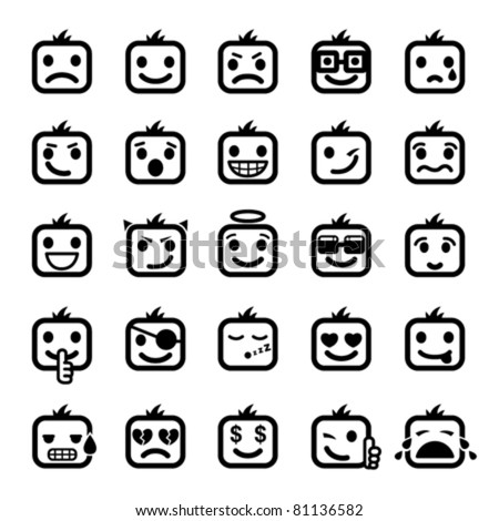 Set of 25 smiley faces. men characters - stock vector