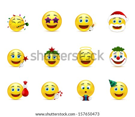 set of smiley images on a party theme - stock vector