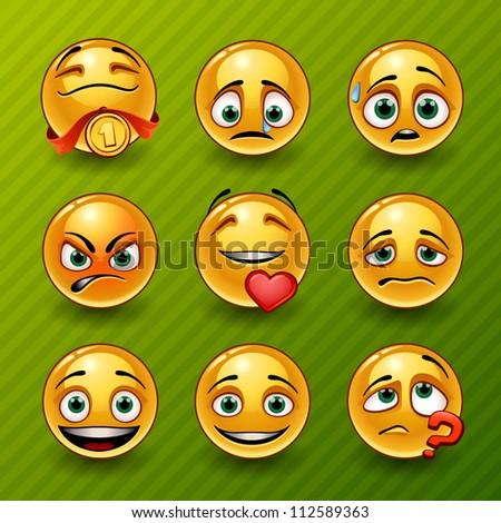 Set of smileys - stock vector