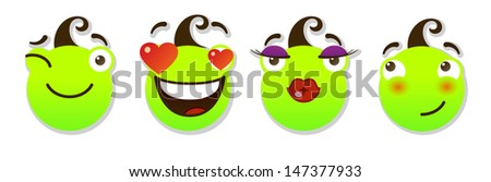 set of smileys. Positive smileys. Vector illustration isolated on a white background - stock vector