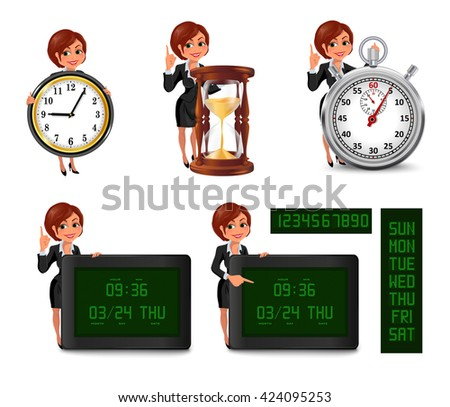 Set of smiling cartoon businesswoman points to the deadline. Girl in suit with clock, hourglass, stopwatch, digital clock and calendar. Vector illustration isolated on white background. - stock vector