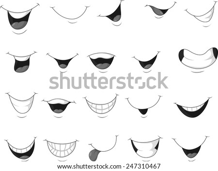Stock Vector Set Of Smiling Mouth on Zipped Mouth Cartoon