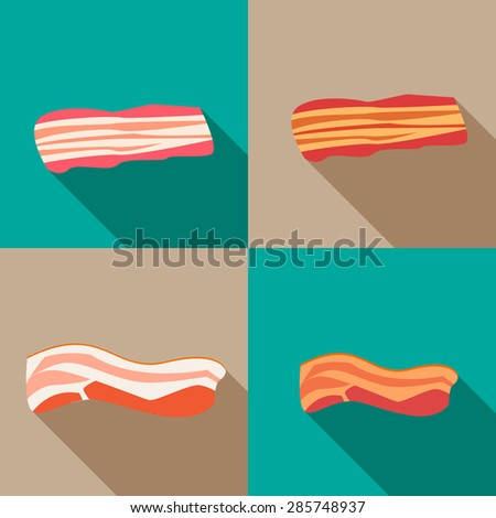 Set of smoked bacon and fresh bacon in flat icon style - stock vector