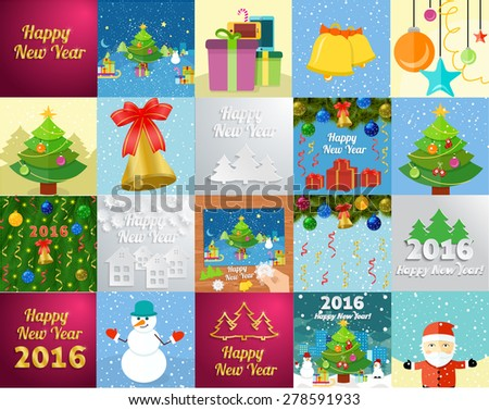 Set of snowflake and New Year 2016 greeting card with decorated christmas tree, snowmans and gifts against the background of glowing cards - stock vector