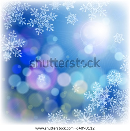 set of snowflakes falling on background of twinkling lights - stock vector
