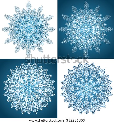 Set of snowflakes isolated on white and on blue. - stock vector