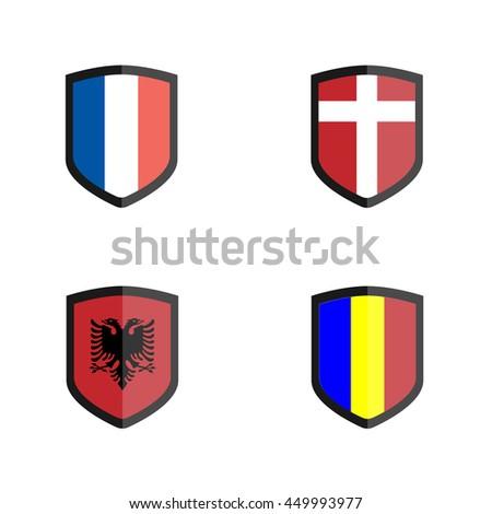 Set of Soccer badge with Nation Flag, Albania, France, Romania, Switzerland - stock vector