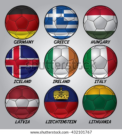 Set of soccer balls with nation flag - stock vector