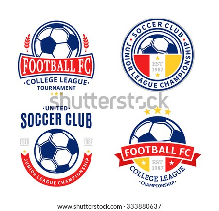 Set of soccer football club logo templates. Soccer football labels with sample text. Soccer Football icons for sport tournaments and organizations. Sport team identity. - stock vector