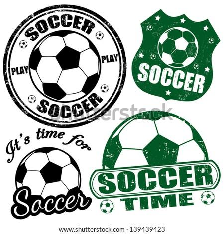 Set of soccer grunge rubber stamps, vector illustration - stock vector