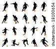 set of soccer player vector - stock vector