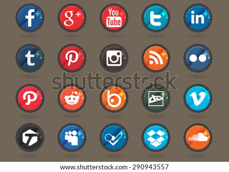 Set of social icons. - stock vector