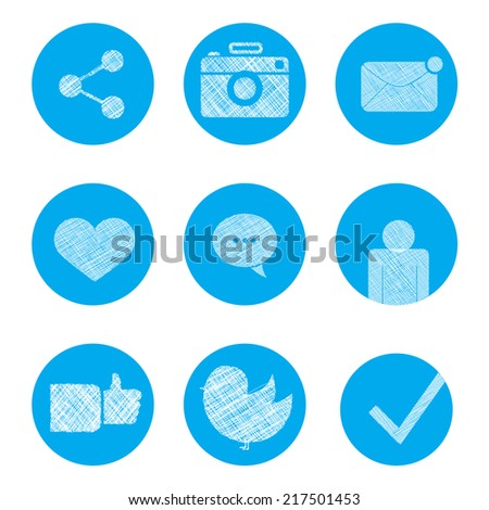 Set of social icons in doodle style. like, bird, camera, connection, human, heart, mail, message, check, dialog. - stock vector