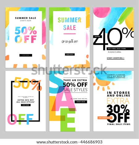 Set of social media sale banners template. Hand drawn vector illustrations for website and mobile website banners, posters, email and newsletter designs, ads, promotional material. - stock vector