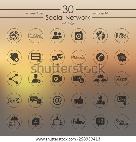 Set of social network icons - stock vector