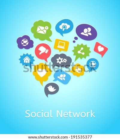 Set of social network icons on clouds and in speech bubbles depicting cloud computing with bird  tweet  share  chat  group  email  heart  global  home  contacts and friends - stock vector