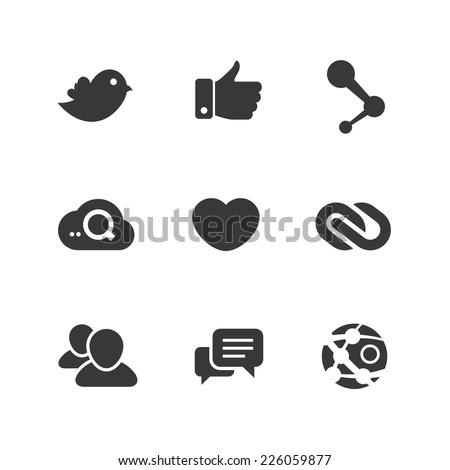 Set of social network vector icons with links twitter bird seo cloud search message bubble like hand chain links follower people global network chat heart symbol and contact - stock vector