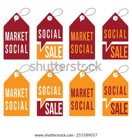 set of social sale tags vector design template - stock vector