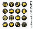 set of social yellow icons - stock vector