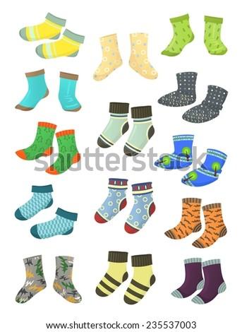 Set of socks for little boys isolated on white background - stock vector