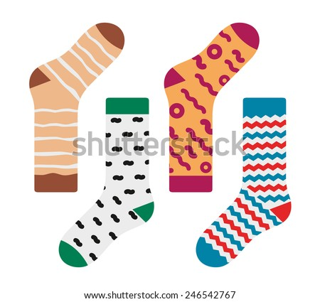 Set of socks with the original design - stock vector