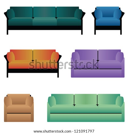 Set of sofas and armchairs. - stock vector