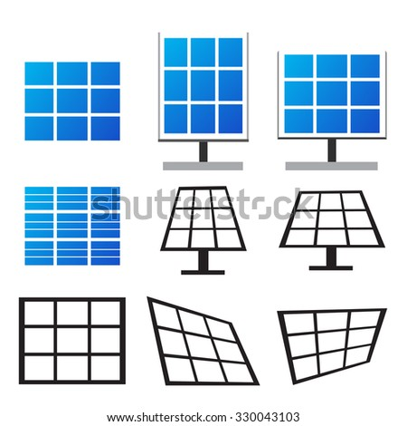 Set of solar panels in many style , Vector - stock vector