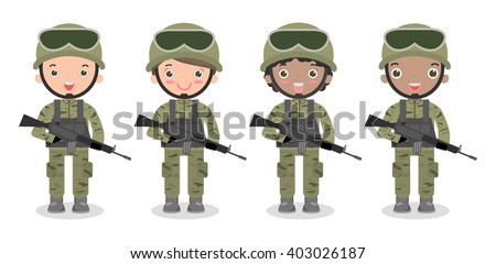 set of soldiers. men and women. flat cartoon character design isolated on white background. US Army , soldiers Isolated vector illustration. - stock vector