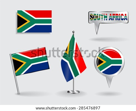Set of South African pin, icon and map pointer flags. Vector illustration. - stock vector