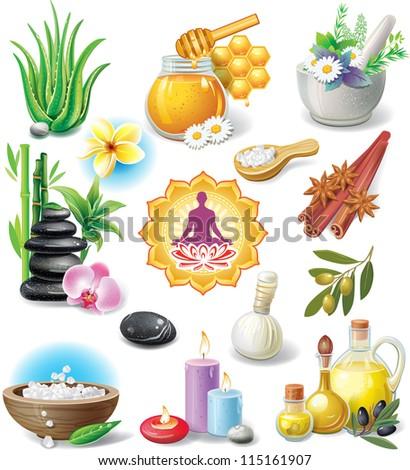 Set of spa treatment symbols - stock vector