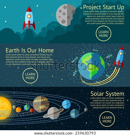 Set of Space banners concepts - Rocket start up, Earth from Space, Solar system. Vector - stock vector