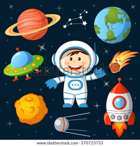 Set of space elements. Astronaut, Earth, saturn, moon, UFO, rocket, comet, constellation, sputnik and stars - stock vector