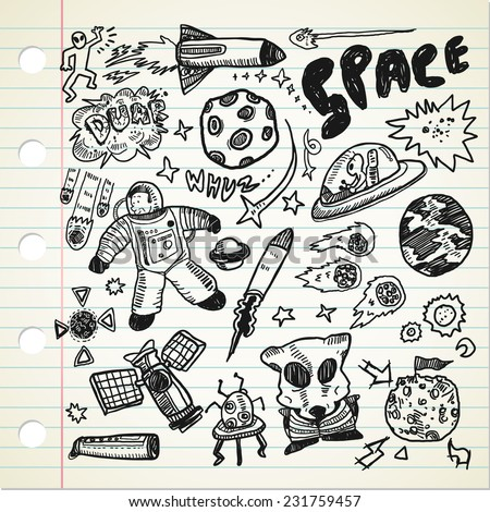 set of space related object in doodle style  - stock vector